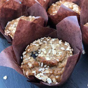 Banaan-Havermout-Blauwe bes Muffin